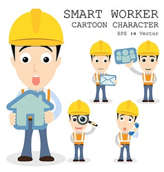 Smart worker cartoon character eps 10 vector image