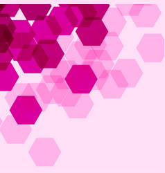 Background template with pink hexagon shapes vector