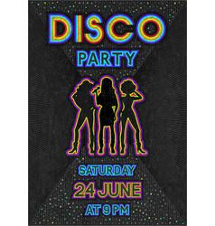 Disco poster in a retro 80s style vector