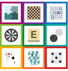 flat icon games set of mahjong arrow ace and vector image vector image