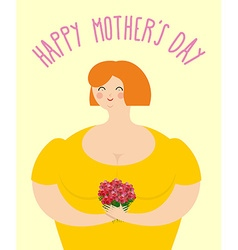 Happy Mothers day Woman with bouquet of roses vector image vector image