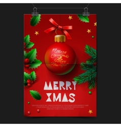 Merry Christmas festive greeting card with ball vector image