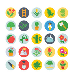 nature and ecology flat circular icons 3 vector image vector image