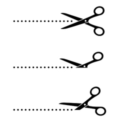 scissors icon with cut line vector image vector image