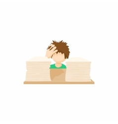 Stressed businessman in office icon vector image