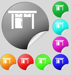 Table icon sign Set of eight multi colored round vector image