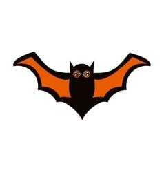 Flying black and orange bat icon vector image