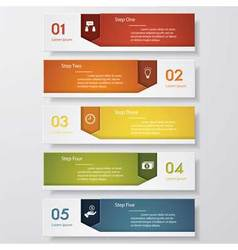 5 steps color banner template vector image