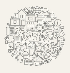 contact us line icons circle vector image vector image