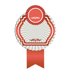 fuchsia emblem with ribbon decoration icon vector image vector image