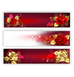horizontal banners with jewelry roses vector image