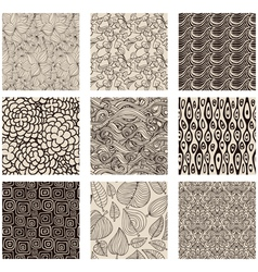 Set of abstract seamless patterns black and white vector image vector image