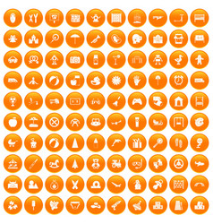 100 childhood icons set orange vector