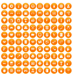 100 gambling icons set orange vector