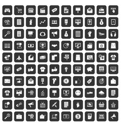 100 internet marketing icons set black vector image