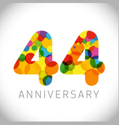 44 years anniversary circle colorful logo vector