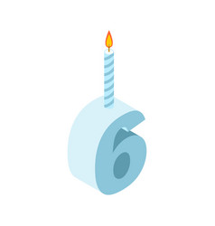 6 number and candles for birthday six figure for vector image