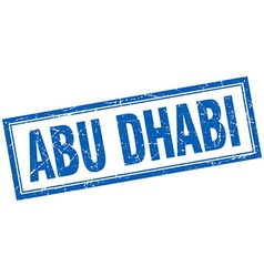Abu dhabi blue square grunge stamp on white vector