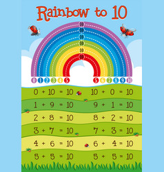Addition worksheet with rainbow in background vector