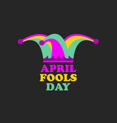 April fools day jester hat cap and bells vector