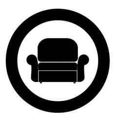 armchair icon black color in circle vector image