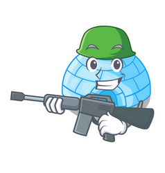 Army character cartoon ice house in snowfield vector