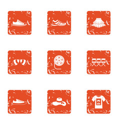 Audition icons set grunge style vector
