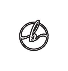B letter script circle logo design vector