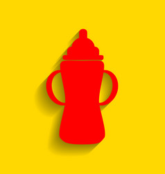 baby bottle sign red icon with soft vector image
