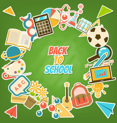 back to school rounded element stickers on vector image