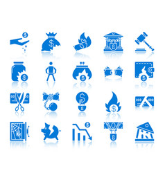 bankruptcy color silhouette icons set vector image
