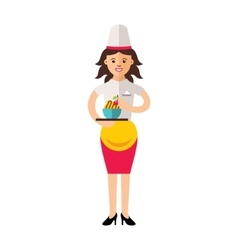 Beautiful female chef with delicious vector image