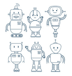 Black and white set of cute cartoon robots vector
