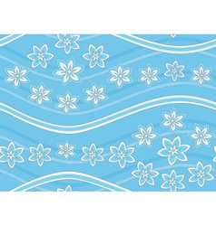 Blue floral seamless pattern with waves vector image