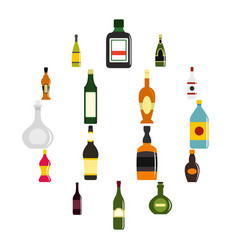 Bottle forms icons set in flat style vector