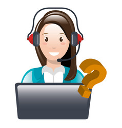Call center woman with laptop and headset vector