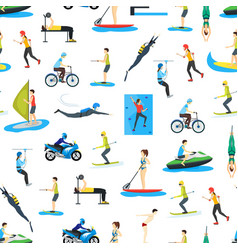 Cartoon extreme sports people seamless pattern vector