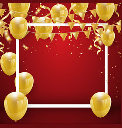 celebration party banner with gold balloons vector image