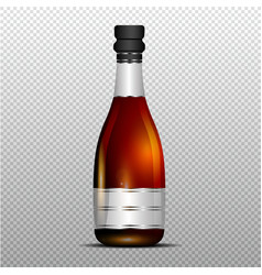 Champagne bottle with silver ribbon vector