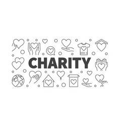 Charity and donation line horizontal banner vector
