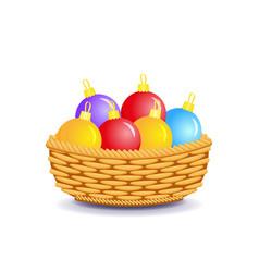 Christmas balls in basket happy new year vector