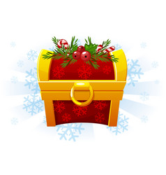 christmas chest in cartoon style festive chest vector image