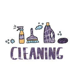 Cleaning tools set of cleaning equipment vector