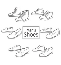 collection of different mens shoes pair outline vector image