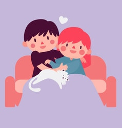 Couple Hugging on Sofa with Cat vector
