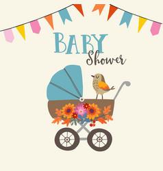 Cute baby shower invitation or birthday card vector
