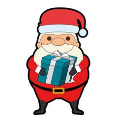 cute santa claus with gift kawaii character vector image