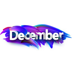 december banner with blue brush strokes vector image