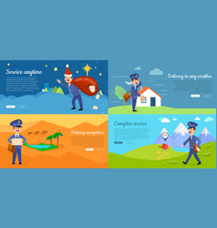 delivery service cartoon web banners set vector image