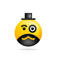 Emoji smile icon symbol smiley face with monocle vector